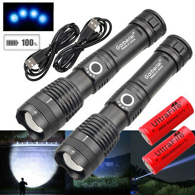 990000LM XHP50 5Modes LED Flashlight Torch USB Rechargeable Zoomable 18650 26650