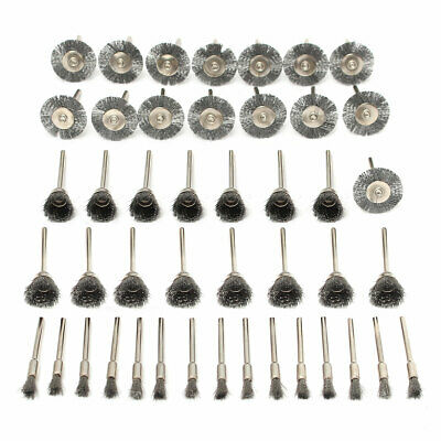 45Pc Brass Steel Wire Wheel Pen Cup Brushes Set Kit Accessories for Rotary Tool
