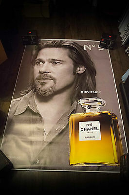 CHANEL N°5  BRAD PITT B 4x6 ft Bus Shelter Original Celebrity Fashion Poster
