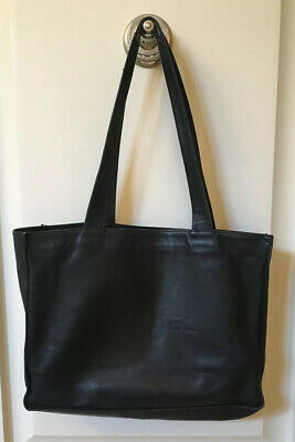 Authentic CHANEL Black Calf Leather Extra Large Tote Bag Inside Zipper Pocket
