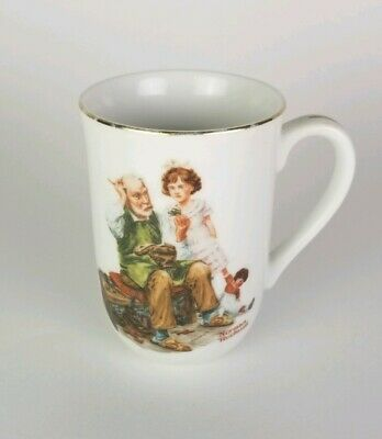 "Norman Rockwell Museum Gold Rim Cup Mug ""The Cobbler"""
