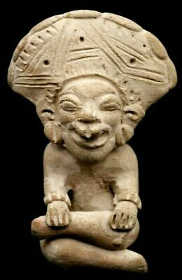300-500 AD Pre-Columbian Seated Man Bahai Culture Ecuador W/ COA