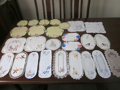 Lot Of 22 Vintage Hand Worked Embroidered Doilies ~ To Use ~ For Craft