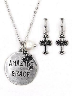 """Burnish Silver Necklace with """"AMAZING GRACE"""" Charm and Matching Dangling Earring"""