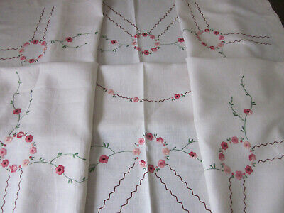 Beautifully Hand Embroidered Pink Flowers Pure Linen Rectangular Tablecloth