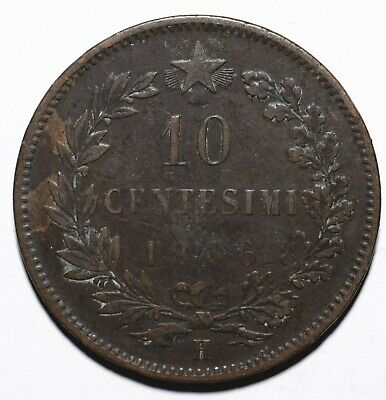 1866 Italy Ten 10 Centesimi - Vittorio Emanuele II - Lot 431