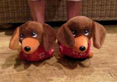 Ladies Womens Kids Ex Store Dachshund Dog 3D Novelty Slippers Size 3/4,5/6,7/8