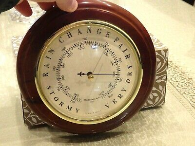VINTAGE - Solid Round Wooden Mahogany BAROMETER  200mm in Diameter - Made in Ger