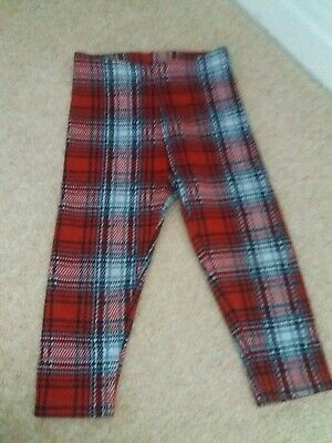 Next Girls Red Checked Winter Leggings  Age 1.5-2Year