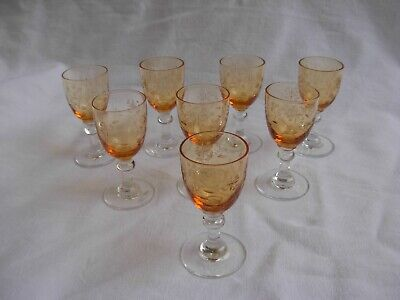 SUPERB ANTIQUE FRENCH ETCHED CRYSTAL LIQUOR GLASSES,SET OF 8,LATE 19th CENTURY.