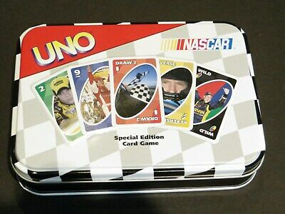 NASCAR Uno Card Game Kahne Busch Kenseth Martin  Complete with Collectors Tin
