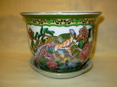 VTG Chinese Porcelain Floral Hand Painted Jardiniere Moriage Flower Pot w/Plate