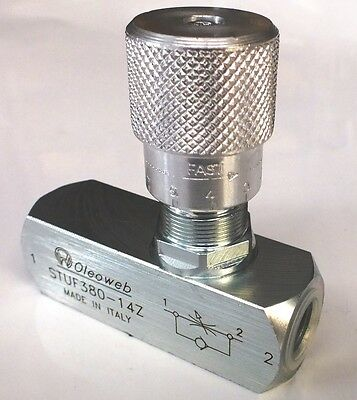 1/4 inch BSP Hydraulic Needle Flow Control Valve With Reverse Flow Check 400 bar