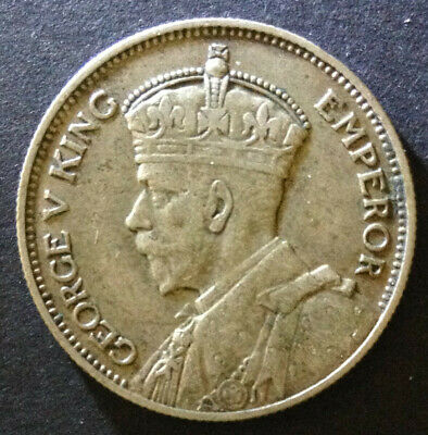 1934 New Zealand Silver Shilling. 8 pearls and diamond visible