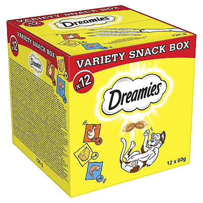 Dreamies Cat Treats, Variety Snack Box with Chicken, Cheese and Salmon, 1 Box 12