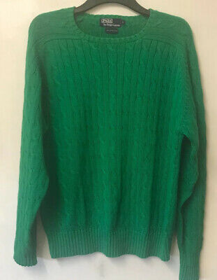 Polo Ralph Lauren Size Large Cable Knit Crew Neck Jumper Bright Green Winter