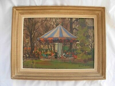 ANTIQUE FRENCH FRAMED OIL PAINTING ON CARDBOARD,SIGNED,EARLY 20th CENTURY.