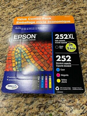 Epson 252XL Black 252 Cyan Magenta Yellow Ink Cartridges 4 Pack NEW SEALED 2021+