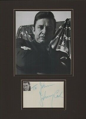Johnny Cash signature. Autograph. Signed custom matted display. Man in Black.