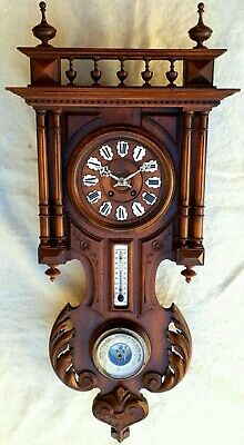 FRENCH ANTIQUE CARVED OAK BLACK FOREST CLOCK WITH BAROMETER & THERMOMETER XIXth