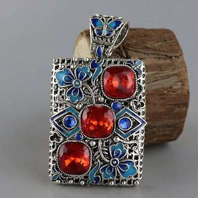 Collectable Old Cloisonne Inlay Zircon Carve Flower & Butterfly Decorate Pendant