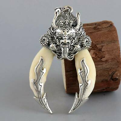 Collect Old Tibet Silver Inlay Wolf Tooth Carve Roar Dragon Bring Luck Pendant