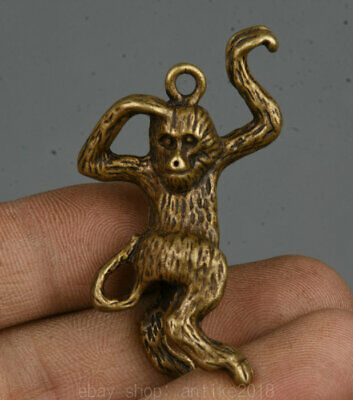 "2"" Old China Bronze Copper Feng Shui Zodiac Year Animal Monkey Statue Pendant"
