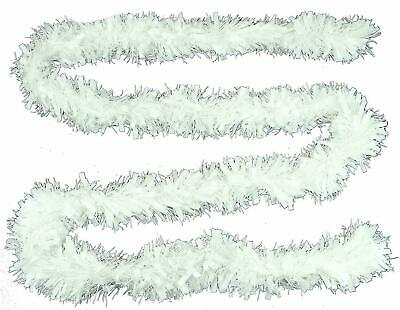 2m 6ft WHITE Christmas Tinsel Thick Chunky Shiny Decoration