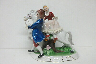 Dresden Type German Porcelain Lace Figure Man and Woman with Horse