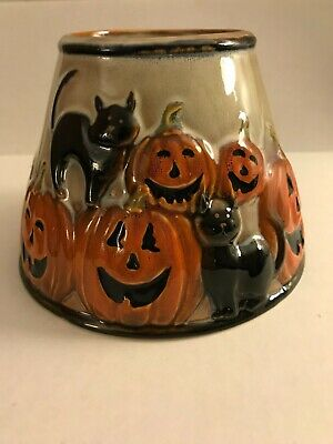 YANKEE CANDLE HALLOWEEN Pumpkins and Black Cats Candle Lamp Shade