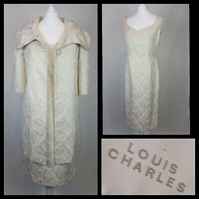 Louis Charles Cream Gold Brocade Mother of The Bride Dress and Coat Size 14