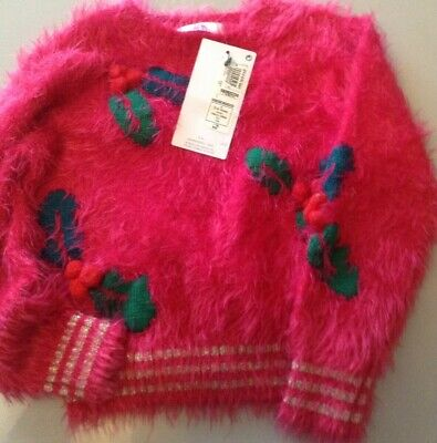 Bnwt M&S Kids Girls Christmas Jumper, Pink Fluffy Age 3-4 ,Holly