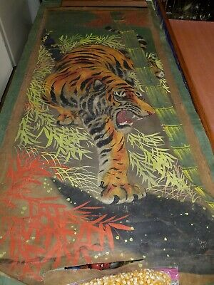 Signed Hand Painting Silk Asian Oriental Wall Art vintage Bangel Tiger Bamboo gr