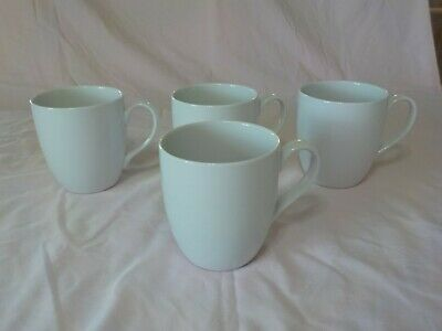 """""""ESSENTIAL"""" Crate & Barrel 4 White Mugs- 4 1/4"""" High; Holds 15 Oz."""