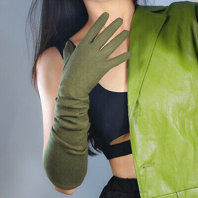 Cashmere Wool Gloves Opera Evening Long Sleeves Arm Warmers Military Army Green