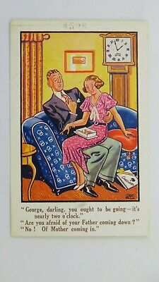 1930s Vintage Comic Postcard Grandfather Long Case Clock Courting Dating Fashion