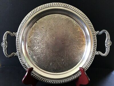 """Vintage Ornate Sheridan 13"""" Round Silver on Copper Serving Tray w/Handles"""