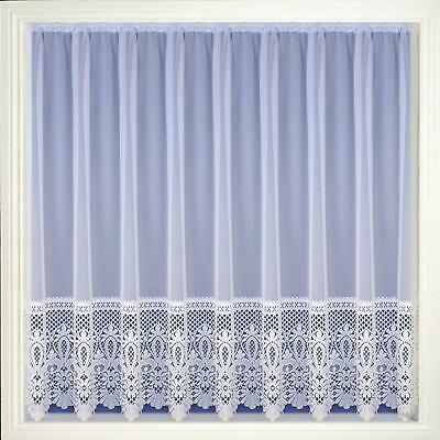 Victorian Deep Lace  Macrame Look Border  White Net Curtain Sold By The Metre
