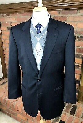 Jos A Bank SIGNATURE COLLECTION Wool 42L 2-Btn Blazer Jacket Black Herringbone