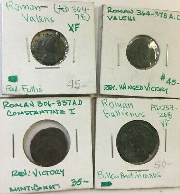 Lot Of 4 Misc Ancient Roman Coins-48Rl