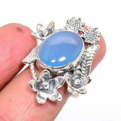 African Blue Chalcedony Hand Crafted Floral Silver Ring 7 (43) AQ