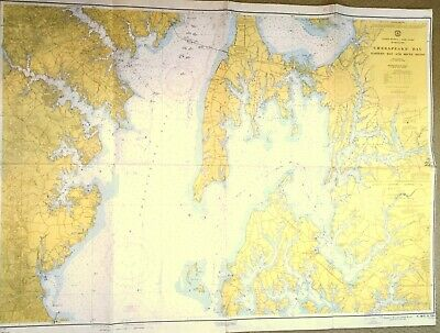 VINTAGE NAUTICAL CHART MAP MD MARYLAND CHESAPEAKE BAY Eastern Bay & South River