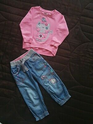 Girls Pep&Co Cat Jumper Next Mouse Jeans Outfit 2-3 Years