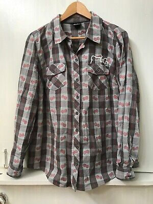 Hello Kitty Size 0 Button Down Long Sleeve Shirt Top Gray Plaid Pink Bows RARE