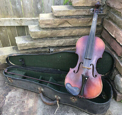 Antique Vtg Antonious Stradivarius Copy Violin 1/2 Size Faciebat Anno 17 W/ Case