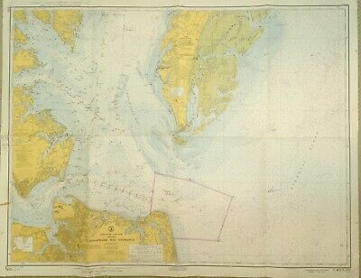 VINTAGE NAUTICAL CHART MAP VA VIRGINIA CHESAPEAKE BAY ENTRANCE Norfolk Cobb Isl