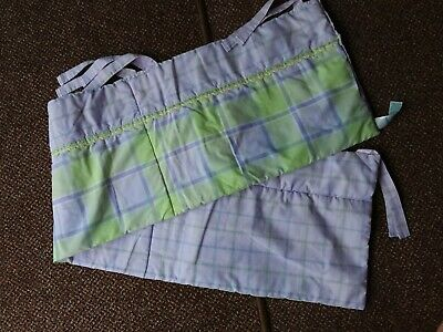 Mothercare - Lilac/Apple Green Check Cot Bumper With Ties