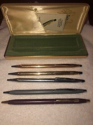Cross Pen 10k 14k 1/20 Gold Filled Silver Gray Burgundy BallPoint Pens Lot of 5