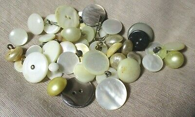 ANTIQUE VINTAGE LOT MOTHER OF PEARL BUTTONS MIXED SIZES shank sew thru riveted
