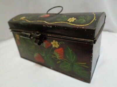 Old Handpainted Tole Toleware Tin Document Box Strawberries Decor